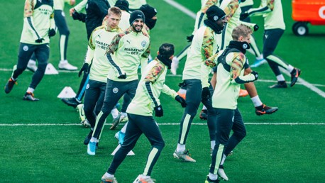IN THE GROOVE: Riyad Mahrez was in high spirits as the players limbered up ahead of the flight to Croatia