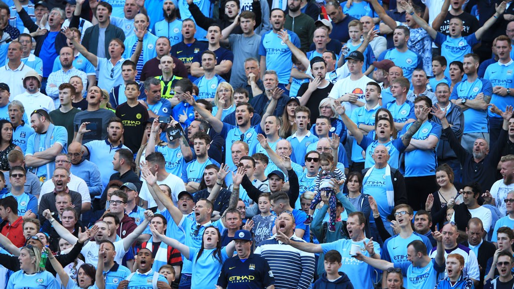 BLUE MOON: Fans belt out a rendition of the famous City song
