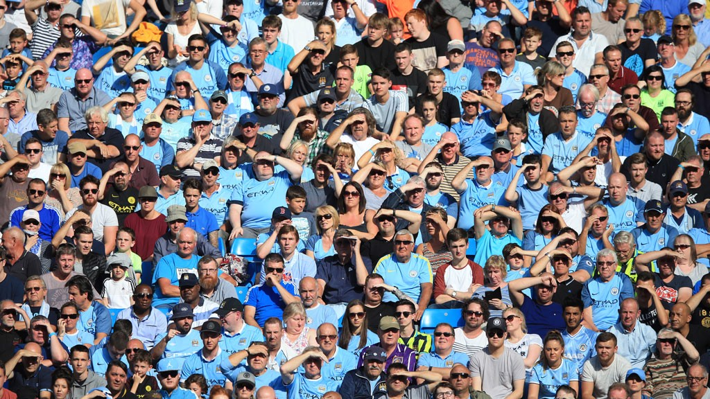 EYES DOWN: A sunny day at the Etihad Stadium often leads to this kind of scene...