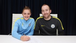 PEN TO PAPER: Georgia Stanway signs her first professional contract, alongside manager Nick Cushing