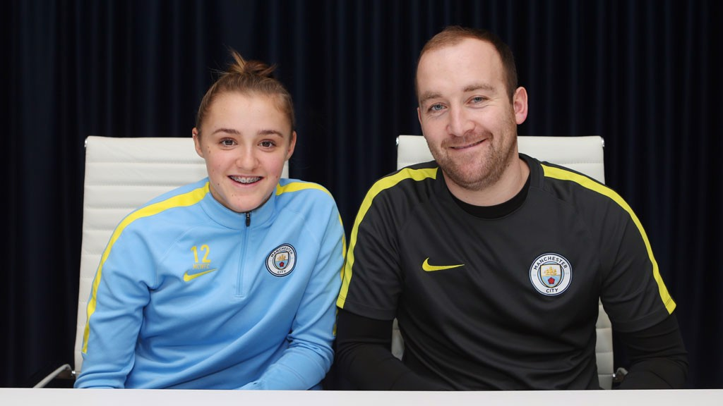 ALL SMILES: Georgia Stanway and Nick Cushing are delighted with the news of her contract extension