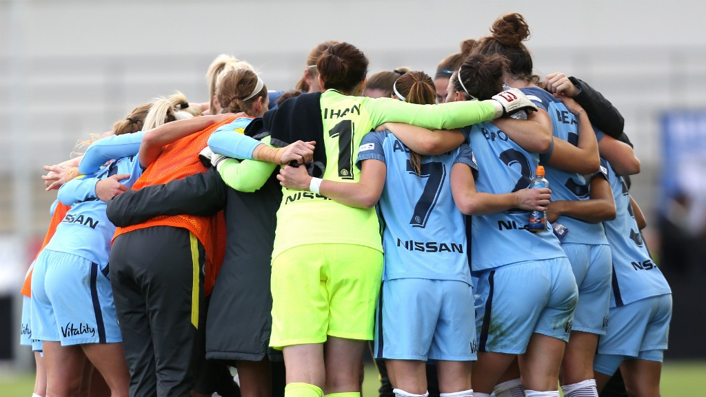 TOGETHER: Man City Women huddle before kick-off