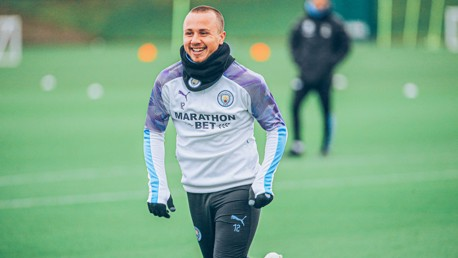 SINGING IN THE RAIN: The weather doesn't seem to bother Angelino