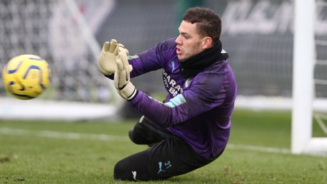 TOP WORK: Ederson makes a smart save in training.
