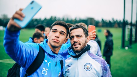 SELFIE TIME: One of the Torque squad stops for a quick selfie with Bernardo Silva