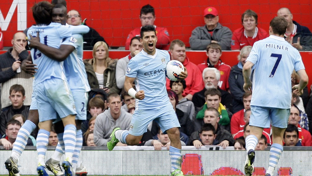 DERBY DELIGHT: Aguero scored on his Manchester derby debut in 2011