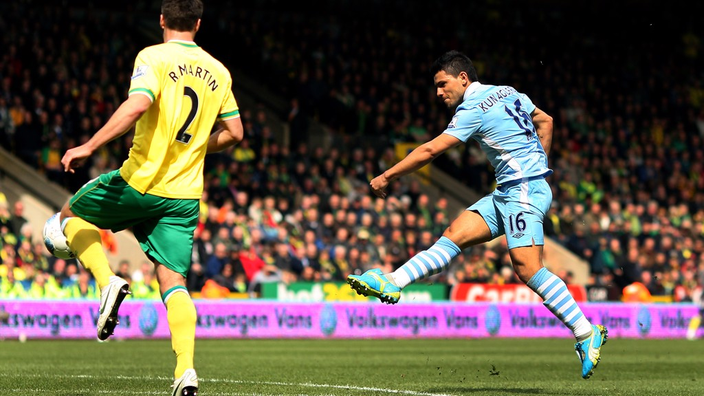 YOU BEAUTY: Aguero scores what would be voted the goal of the season against Norwich in 2012
