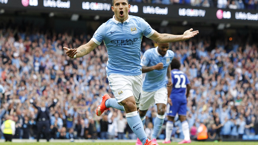 CROWD PLEASER: Aguero reels away after scoring against Chelsea in 2015
