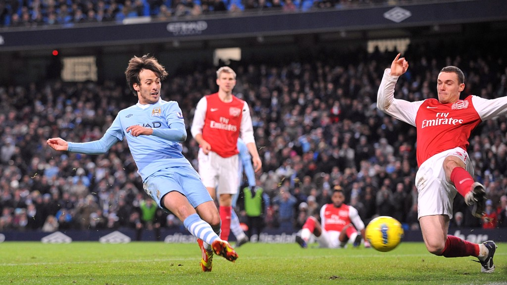 SILVA LINING: David scores the winning goal against Arsenal in 2011