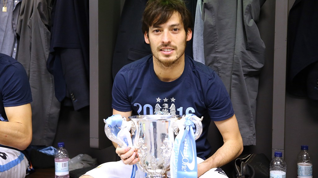 SILVA'S SILVER: Silva has the Capital One Cup in his hands after City beat Liverpool in 2016