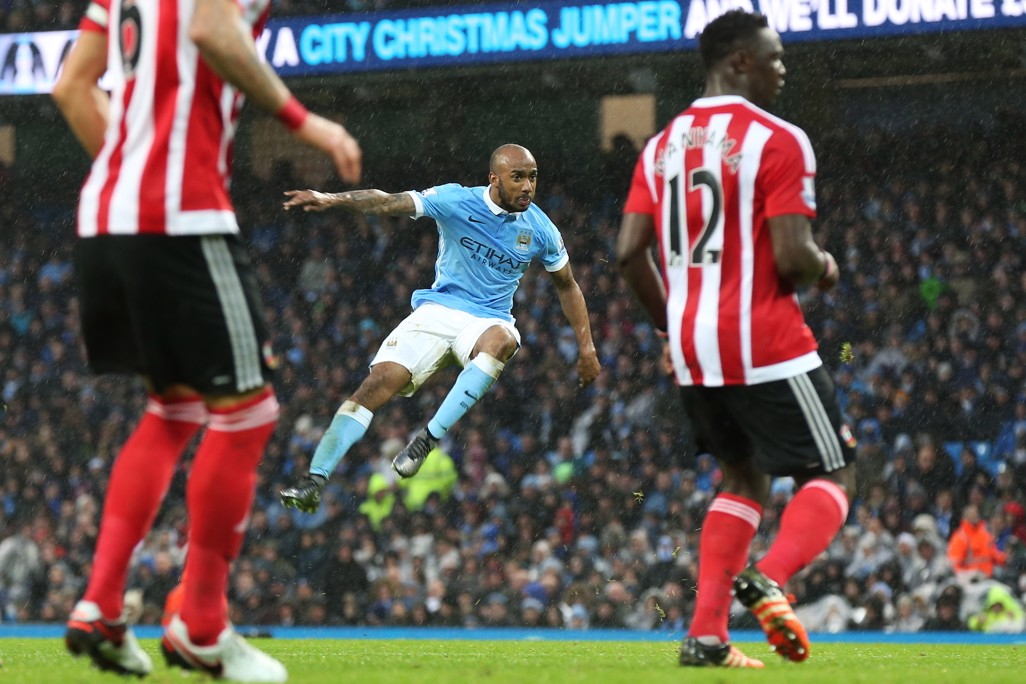 TAKE-OFF: Delph takes to the air after striking the ball against Southampton in 2015