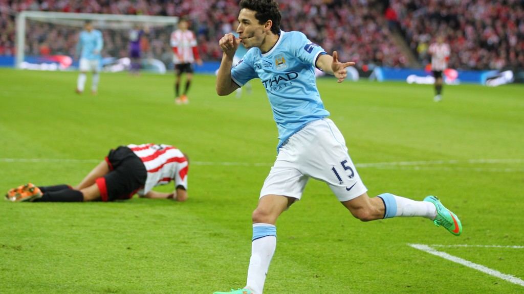 BIG GOAL: Navas scores in the 2014 League Cup Final win
