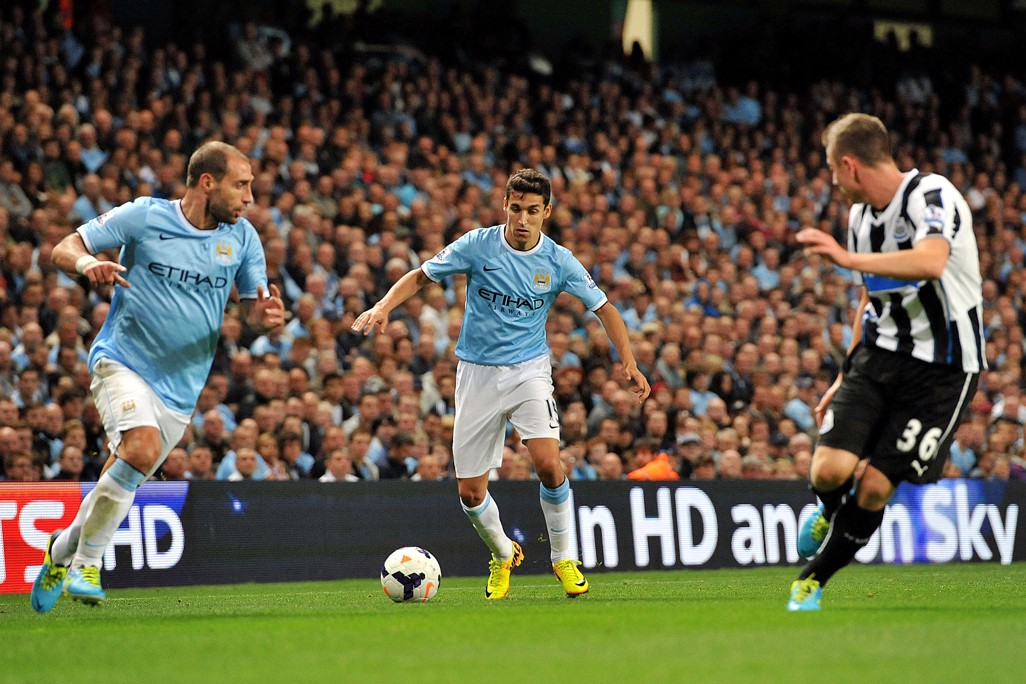 DEBUT: Navas makes his first City appearance against Newcastle in 2013