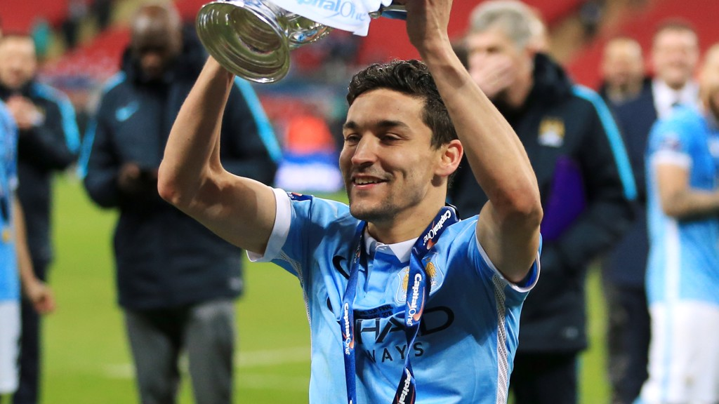 LIFT-OFF: Navas lifts the Capital One Cup trophy up high in 2016