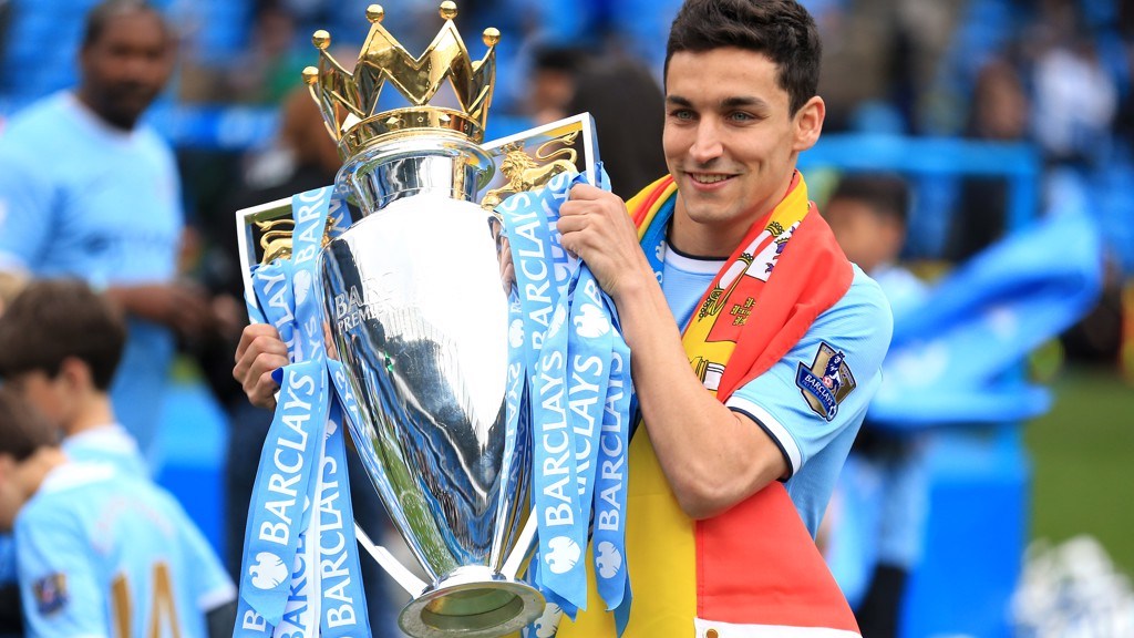 JOB DONE: Navas holds the Premier League trophy in 2014