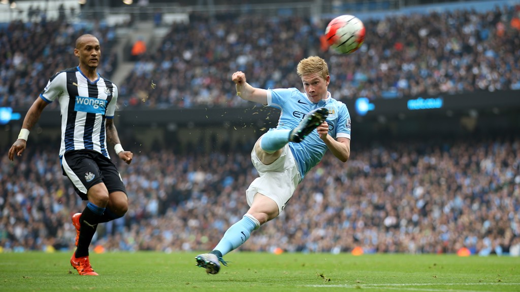 SCREAMER: De Bruyne scores a volley against Newcastle in 2015