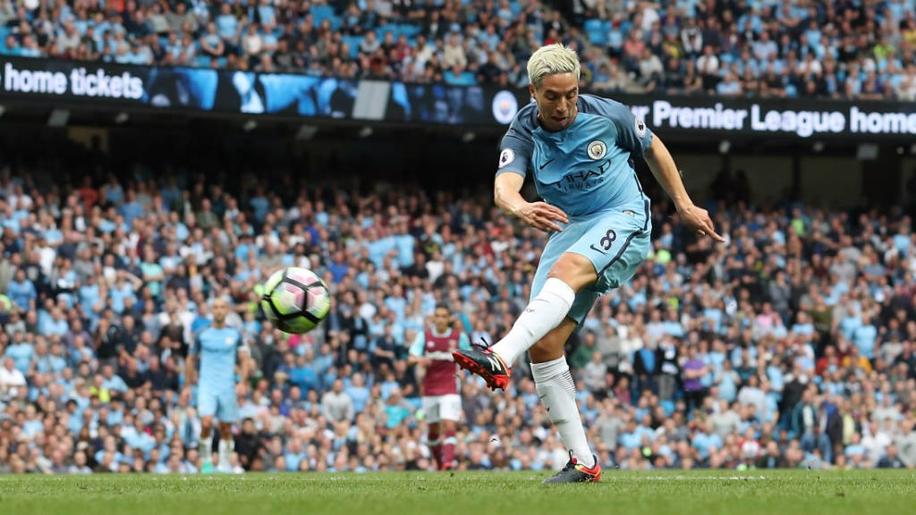 SIGNING OFF: Nasri helped City to a 3-1 over West Ham before his loan move to Sevilla.