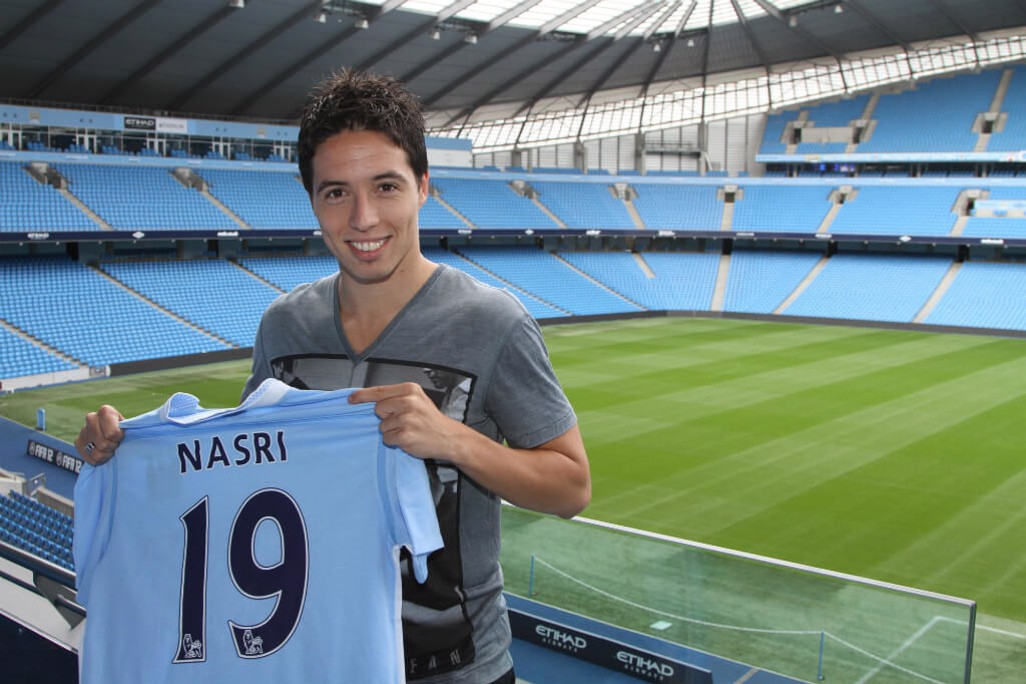 SIGNING: Nasri beams after joining the Blues in 2011.