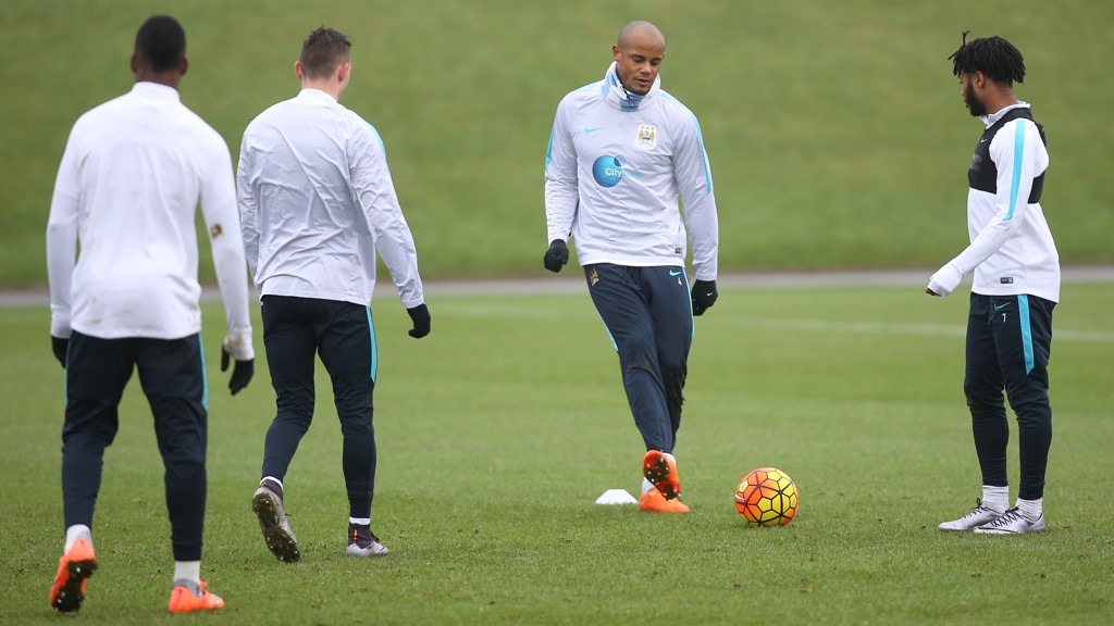 BACK ON THE BALL: Kompany in training