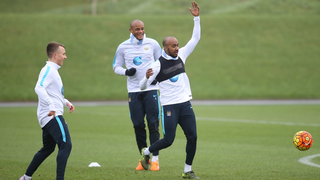 HANDS UP WHO'S HAVING FUN? Fabian Delph in the thick of the action
