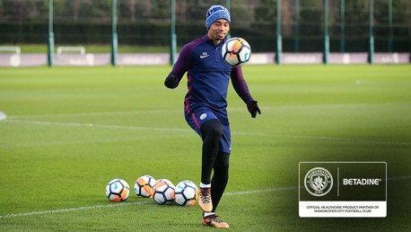 BACK: Gabriel Jesus trained with his team-mates for the first time since suffering a knee injury.