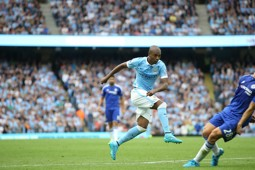TEKKERS: A low drive from Fernandinho opened the scoring as City downed the reigning champions in the same fixture last season.