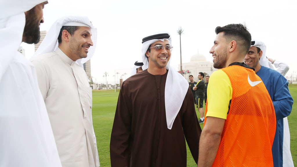 CHATTING AWAY: Aguero, Khaldoon Al Mubarak and H.H. Sheikh Mansour deep in discussion