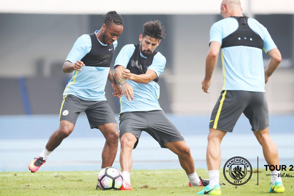 NEW TEAMMATES: Nolito and Sterling face off for the first time.
