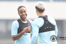 BACK TOGETHER: Nasri and Sterling catch up after the summer.