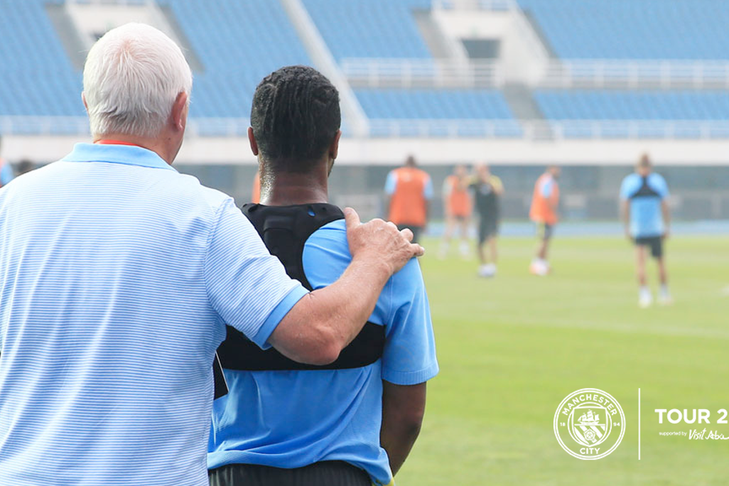 MASTER AND MENTOR: Mike Summerbee gives Raheem Sterling some tips!