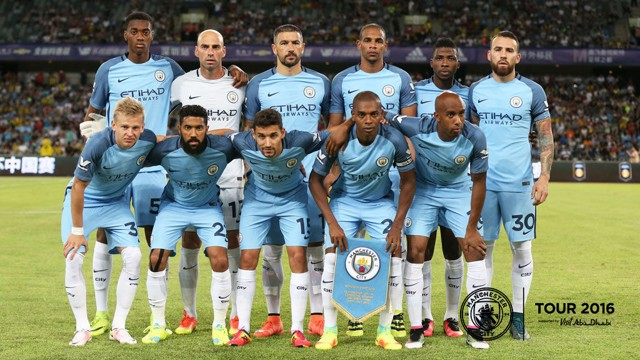 COME TOGETHER: Kelechi lines up with the rest of the team ahead of City v Dortmund.