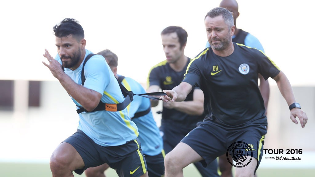 HARD YARDS: Aguero puts it in.