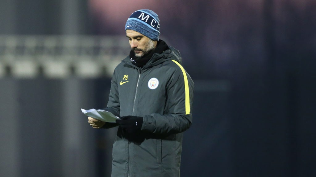 TACTICS: Pep Guardiola works on his tactics.