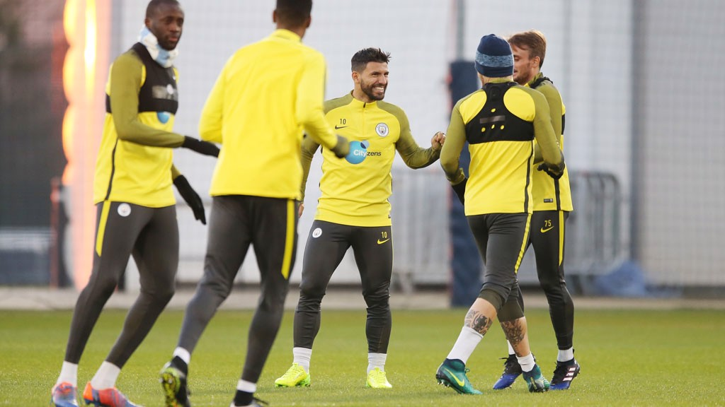 KUN AND THE GANG: Sergio Aguero shares a joke during the session