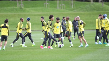 MIDDLE MAN: Leroy Sane in the thick of the action