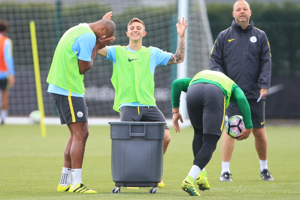 BUCKET BALL: It's a head in hands moment as the skipper misses the target, much to the amusement of Pablo Maffeo.