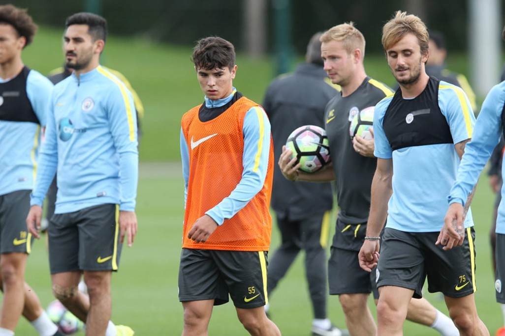 YOUNG GUNS: Brahim Diaz and Aleix Garcia with the first teamers.