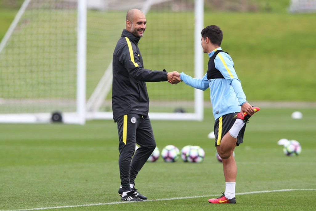 GREETINGS: The boss introduces himself to Academy star Brahim Diaz.