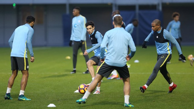 FOCUS: Navas in a passing drill amongst teammates.