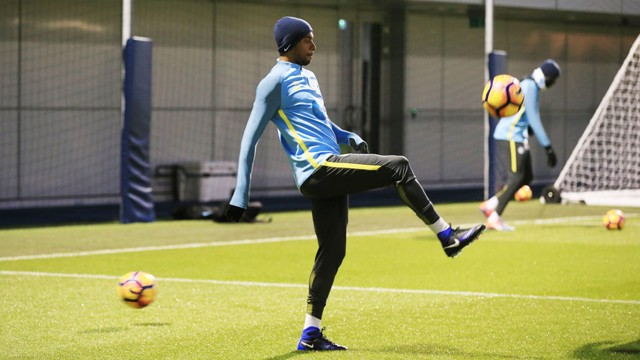 CONCENTRATION: Fernandinho practises his keepy-ups