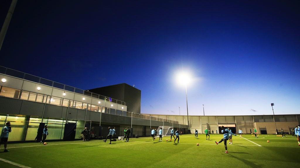 FLOODLIGHTS: The team train as darkness descends on Manchester