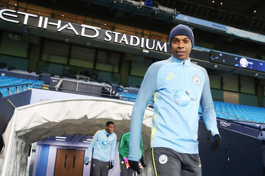 LOOMING LARGE: Fernandinho cuts an imposing figure on the pitch and in this picture