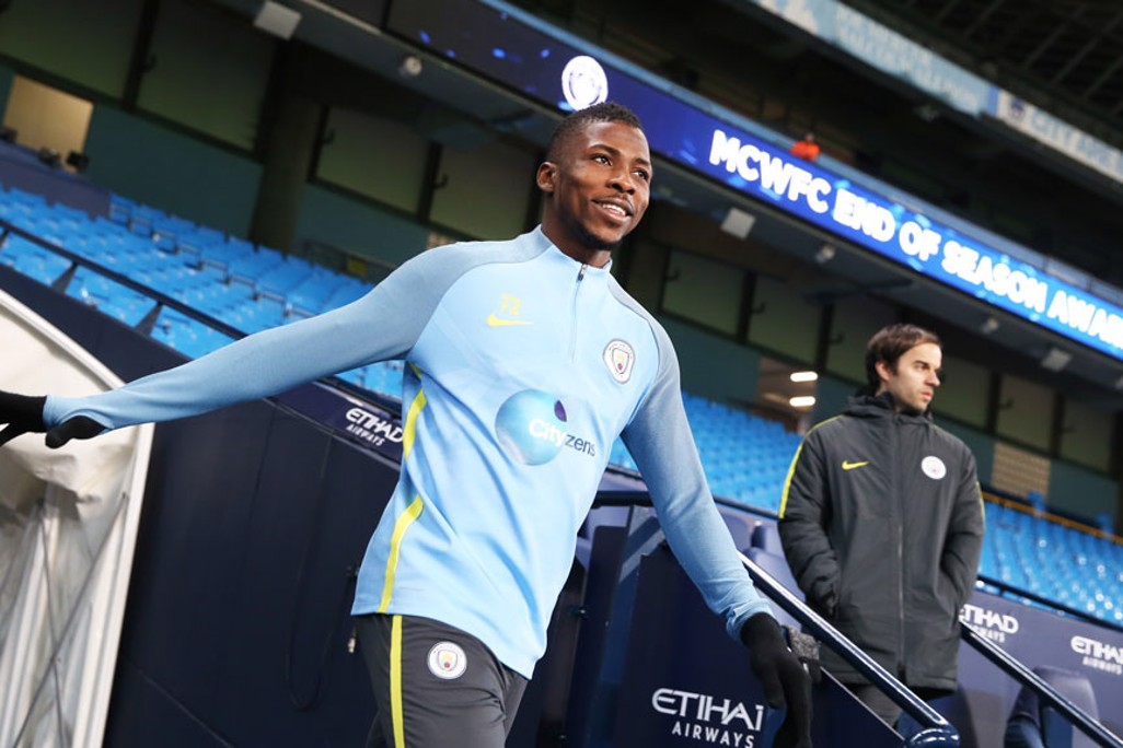 FLYING HIGH: Kelechi Iheanacho looks eager to get involved as he makes his way to the pitch