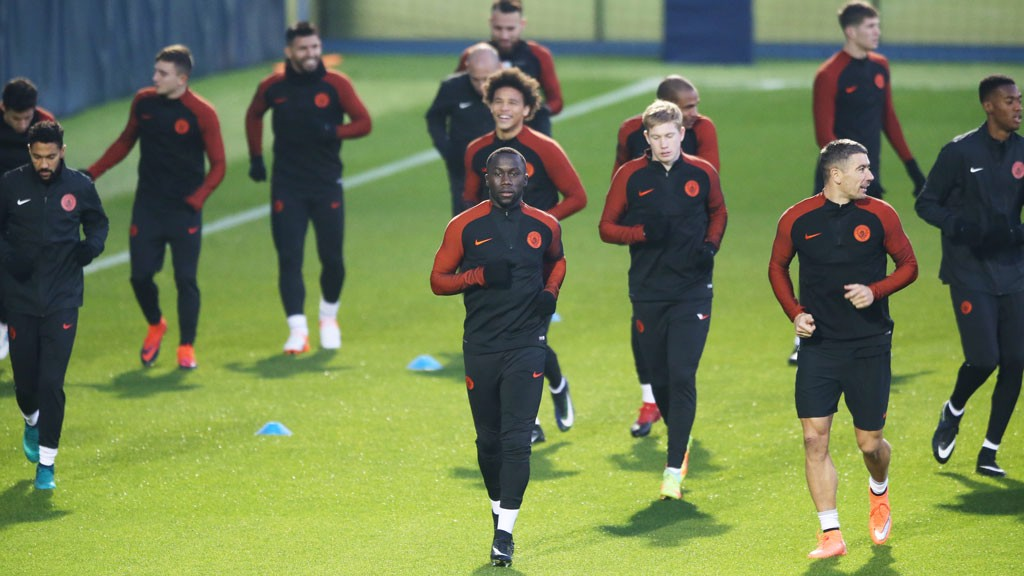 BACK IN BUSINESS: Sagna leads the jog
