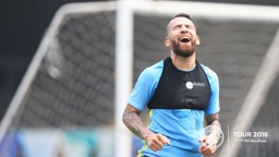 SO CLOSE: Otamendi reacts after a rare effort on goal.