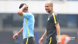 SCHEMING: Pep and Sergio plot how they will take down United tomorrow.