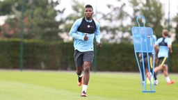 IN THE BANK: Kelechi logs some miles in the first session of the season.
