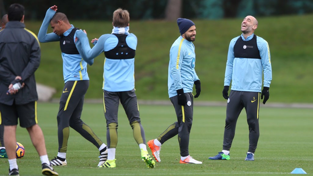 CAPTION CONTEST? Something has tickled Fernando, Aleix Garcia, Sergio Aguero and Pablo Zabaleta