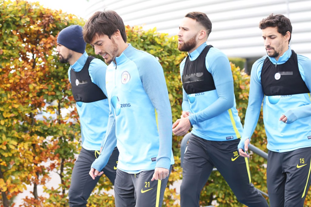 AUTUMN SCENES: Nolito, David Silva, Nicolas Otamendi and Jesus Navas step out
