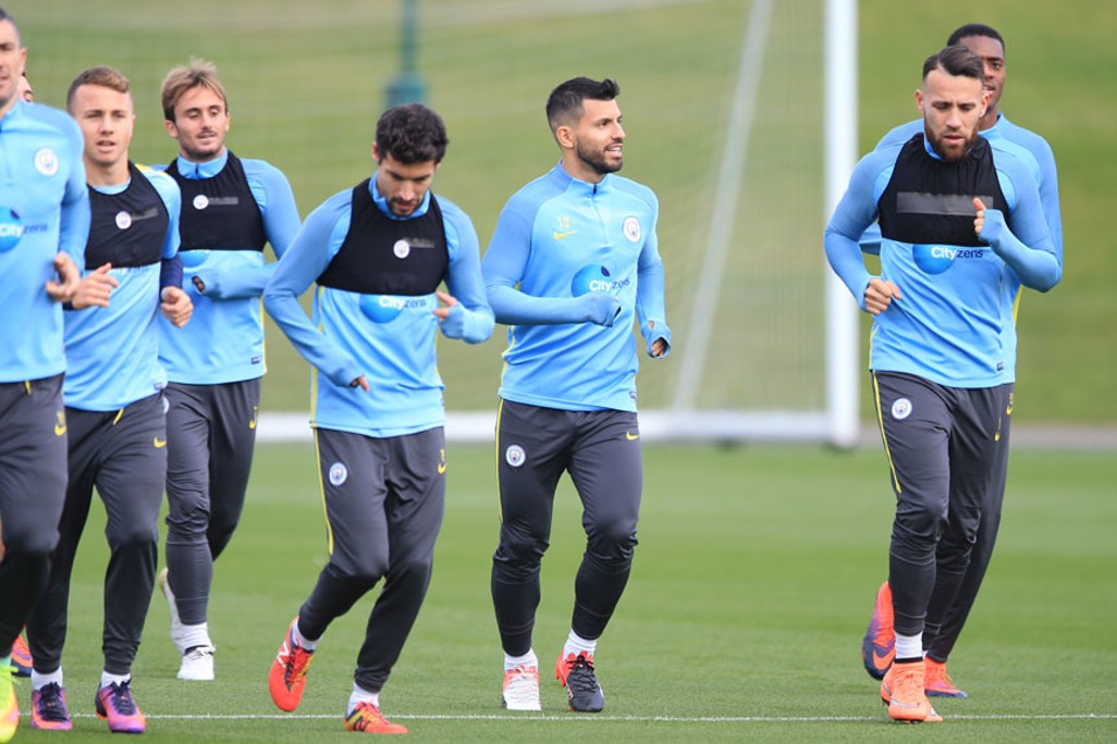 TUNING UP: City players go through their paces